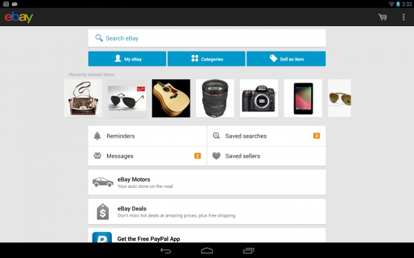 Uno screenshot dell'App di eBay per Android