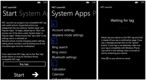 Alcune schermate di NFC Lanchit per Windows Phone